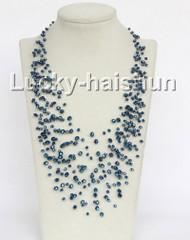 """17"""" 18row Baroque dark blue crystal necklace j11044"""