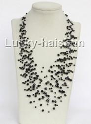 """17"""" 18row Baroque black crystal necklace j11046"""