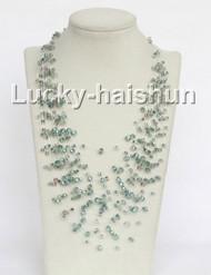 """17"""" 18row Baroque Multicolor green crystal necklace j11047"""