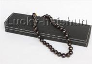 "Genuine 17"" 13mm round black FW pearls necklace 925sc clasp j11101"