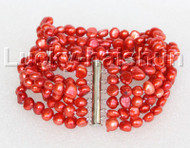 "8"" 8mm 6row Baroque red pearls bracelet magnet clasp j11123"