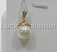 GENUINE 13.96MM ROUND WHITE SOUTH SEA PEARL NECKLACE PENDANT 14K GOLD j11190