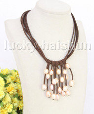 """16"""" 5row 13mm Baroque pink freshwater pearls coffee leather necklace j11225"""