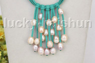 """16"""" 5row 13mm Baroque pink freshwater pearls green leather necklace j11250"""