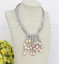 """16"""" 5row 13mm Baroque pink freshwater pearls gray leather necklace j11259"""