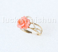 stylish 12mm carved rose pink coral Rings 14K solid gold 8# j11285A900