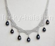 """15""""-18"""" 10mm adjustable drop gem stone black pearls necklace 18KGP j11317"""