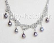 """15""""-18"""" 10mm adjustable drop gem stone black pearls necklace 18KGP j11318"""