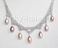 "15""-18"" 10mm adjustable drop gem stone purple freshwater pearls necklace 18KGP j11319"