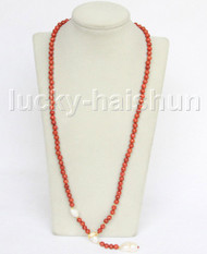 "AAA 30"" 6mm natural round red sponge coral white pearls necklace j11551"