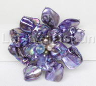 "3"" baroque Flower purple seashell pearls crystal Brooch j11682"