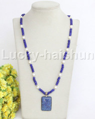 """natural 29"""" 8mm blue crystal lapis lazuli pearls necklace j11832"""