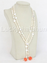"""natural 53"""" 8mm 12mm Baroque white fastener pearls necklace j11833"""