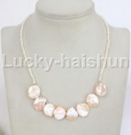 "adjustable 16-18"" white pink Reborn keshi pearls necklace 18KGP clasp j11835"