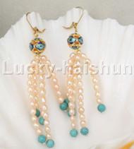 Genuine Dangle pink pearls cloisonne earrings 14K hook j11838