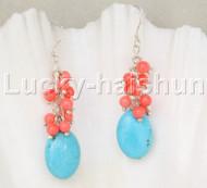 Genuine Dangle pink coral blue turquoise earrings 925sc hook j11839