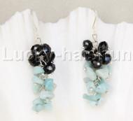 Genuine Dangle black crystal aquamarine earrings 925sc hook j11840