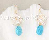 Genuine Dangle white pearls blue turquoise earrings 14K hook j11841