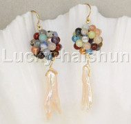 Dangle pink pearls Multicolor jade ball earrings 14K hook j11842