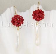 Dangle red coral ball white pearls earrings 14K hook j11843