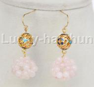 17mm rose quartz ball 10mm cloisonne Dangle earrings 14K hook j11845