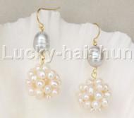 17mm ball white gray pearls Dangle earrings 14K hook j11846