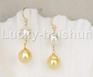 AAAA luster Dangle Baroque white golden south sea pearls Earrings 14K gold j11847