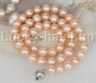 """natural 17"""" 10mm round pink freshwater pearls necklace 18KGP j11851"""