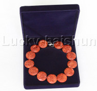 "AAA 19"" 33mm natural coin pizza carved red sponge coral necklace j11879"
