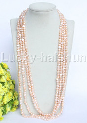 "length 120"" Baroque pink freshwater pearls necklace j11948"