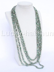 "length 120"" Baroque green freshwater pearls necklace j11949"