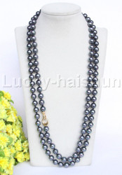 "Genuine 50"" 10mm round peacock black south sea shell pearls necklace j11951"