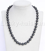 "Genuine 18"" 10mm round black south sea shell pearls necklace j11952"
