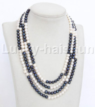 "natural 17"" 4row round white black pearls necklace magnet clasp j11953"
