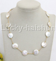 "natural 18"" 16mm coin white freshwater pearl necklace j11973"