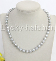 "natural 17"" 10mm round gray freshwater pearl necklace j11966"