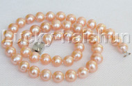 "natural 17"" 10mm round pink freshwater pearl necklace j11967"