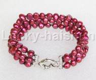 "8"" baroque 3row 8mm wine red pearls bracelet 18KGP clasp j12015"
