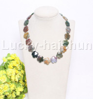"natural 17"" 20mm baroque snowflake Multicolor jade necklace j12126"