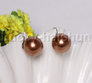 Dangle 20mm round coffee south sea shell pearls Earrings 925 silver hook j12130