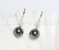 Dangle 16mm round peacock black south sea shell pearls Earrings 925 silver hook j12132