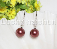 Dangle 16mm round wine red south sea shell pearls Earrings 925 silver hook j12134
