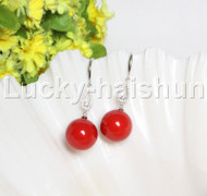 Dangle 16mm round red south sea shell pearls Earrings 925 silver hook j12135