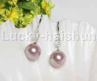 Dangle 16mm round lavender south sea shell pearls Earrings 925 silver hook j12137
