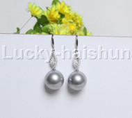 Dangle 16mm round peacock gray south sea shell pearls Earrings 925 silver hook j12139
