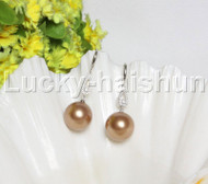 Dangle 16mm round light coffee south sea shell pearls Earrings 925 silver hook j12140