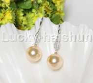 Dangle 16mm round golden south sea shell pearls Earrings 925 silver hook j12142
