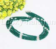 "Genuine 17"" 4 string white pearls faceted green Crystal necklace 18KGP j12145"