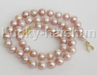 """natural 17"""" 10mm round purple freshwater pearls necklace gold plated clasp j12148"""