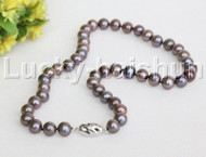 """natural 17"""" 10mm round black brown freshwater pearls necklace 18KGP clasp j12150"""